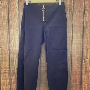 Zara Crop Cotton Wide Leg Zip Ring Navy Pants M